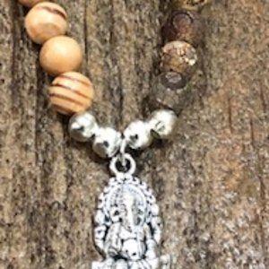 Two Tone Bead Bracelet W/ Ganesha Charm
